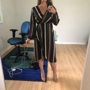Ark & Co striped long-sleeve midi dress